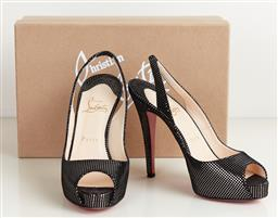 Sale 9120K - Lot 12 - A pair of Christian Louboutin new prive 120 suede square heels; with red bottoms, size 37.5, with original box, with dust bag