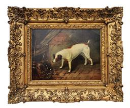 Sale 9123J - Lot 310 - Clement John Hemming British 19thC 'terrier in a barn' oil on canvas signed lower right and verso in original antique frame. 36 x 51