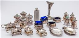 Sale 9099 - Lot 191 - A collection of plated tablewares including salts and peppers, bud vase, hip flask, ash trays etc
