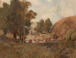 Sale 9255S - Lot 3 - CHARLES TINDALL (1863 - 1951) - Cattle grazing by the Hunter River 33.5 x 43.5 cm (frame: 64 x 74 x 3 cm)