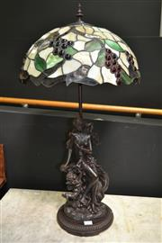 Sale 8161 - Lot 1002 - Bronze Style Lady Figural Base Table Lamp with Leadlight Shade