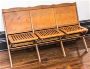 Sale 8222 - Lot 57 - A set of timber theatre chairs, H 80, W 138cm Film Provenance; Moulin Rouge, 2001