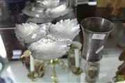 Sale 8217 - Lot 47 - Silver Beaker & Leaf Shaped Dish (Weight - 307g)