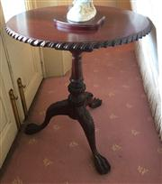Sale 8430 - Lot 17 - A Georgian style carved mahogany round occasional table with turned pedestal and ball and claw feet