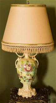 Sale 8418A - Lot 29 - A transfer printed and painted vase converted to a lamp with fringed shade, H 84cm