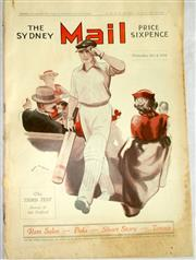 Sale 8460C - Lot 64 - The Sydney Mail front cover Wednesday July 4, 1934 plus 4 page story of Test Match at Manchester. Very good.