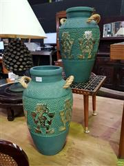 Sale 8562 - Lot 1023 - Pair of Terracotta Form Vases with Rope Handles