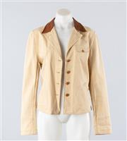Sale 8760F - Lot 138 - A Ralph Lauren cotton jacket with brown leather collar and waist belt, size medium