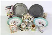 Sale 8923 - Lot 100 - A Collection of Mostly Ceramics inc Sadler Tea Caddy, Worcester Miniature Vase, and Pewter Plates