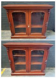 Sale 9048 - Lot 1001 - Rare Pair of 19th Century Cedar Dwarf Bookcase by Robert Thomas Carter, each with arched top glass panel doors, flanked by turned ha...
