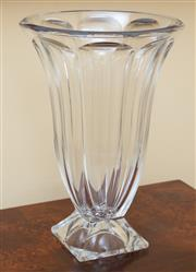 Sale 9055H - Lot 4 - A bohemian crystal footed vase on square base. H:36cm D:25cm