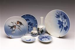 Sale 9119 - Lot 199 - A small collection of Royal Copenhagen porcelain inc small dishes and bud vases (H:14cm)
