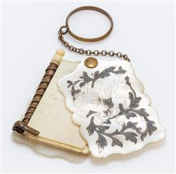 Sale 9180E - Lot 9 - A mother of pearl bound and ivory paged note book keyring, Length 5cm
