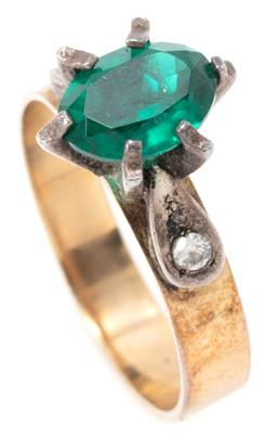 Sale 9149 - Lot 303 - A 9CT GOLD STONE SET RING; 4mm wide band high set with green and white pastes, size L, wt. 2.40g.