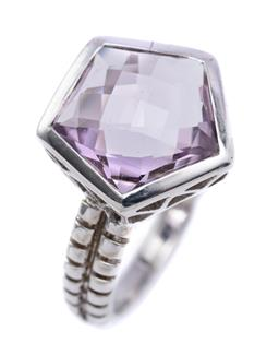 Sale 9194 - Lot 333 - A SILVER AMETHYST RING; featuring a pentagonal chequerboard cut amethyst in collet setting to pierced gallery and reeded shoulders,...