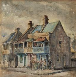 Sale 9184A - Lot 5022 - DORA JARRET (1895 - 1983) Mending the Nets, Wooloomooloo watercolour and pastel 35.5 x 35.5 cm (frame: 51 x 51 x 36 cm) signed lower...