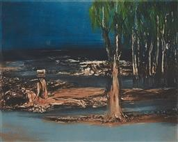 Sale 9195 - Lot 588 - SIDNEY NOLAN (1917 - 1992) Kelly with Wounded Figure colour etching, ed. 34/60 44 x 56 cm signed lower right