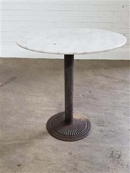 Sale 9255 - Lot 1489A - Marble top table over metal base (h:78 x d:80cm)