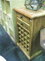 Sale 7974A - Lot 1059 - Rustic 2 Drawer Cabinet with Wine Rack Beneath