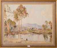 Sale 8171A - Lot 11 - Andrew Park - Outback Lakeside Scene 40x50cm