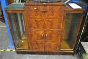 Sale 8326 - Lot 1275 - Drop Front Drinks Cabinet w Glass Shelves