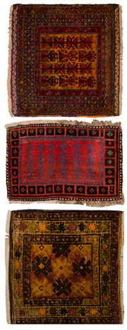 Sale 8447C - Lot 98 - 3 x Persain Antique Door Mats Approx. 90cm x 60cm
