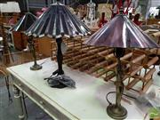 Sale 8480 - Lot 1094 - Pair of Purple Table Lamps With Matching Larger Table Lamp