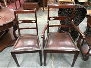 Sale 8666 - Lot 1011 - Set of Eight Edwardian Mahogany Dining Chairs, including two armchairs, with satinwood cross-banding, pierced back rails, leather se...