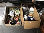 Sale 8759 - Lot 2377 - 2 Boxes of Sundries incl Tin Wares & Ceramics