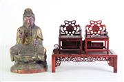 Sale 8977 - Lot 63 - A Gilt Painted Timber Seated Buddha Figure (H 23cm) Together with Miniature Chinese Furniture (L 23cm, some losses)