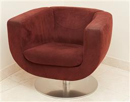 Sale 9120K - Lot 3 - A BNB Italia Max Alto red Tulip 360 degree swivel chair designed by Jeffrey Bennett, (rubbing to arms and cushion) . Width 78cm