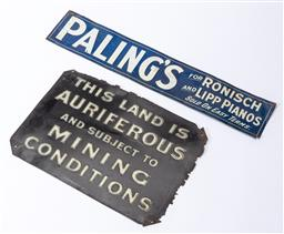 Sale 9185E - Lot 60 - Two tin signage plaques, one for Palings, and the other by J.Gadsden pty Ltd., larger 34cm x 24cm