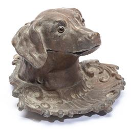 Sale 9185E - Lot 105 - A hound head form patinated cast metal inkwell, Height 10cm