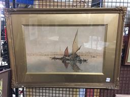 Sale 9118 - Lot 2055 - Artist Unknown (C20th) Fishing Boat and Distant Views of Venice watercolour, 54 x 75cm, signed lower left -