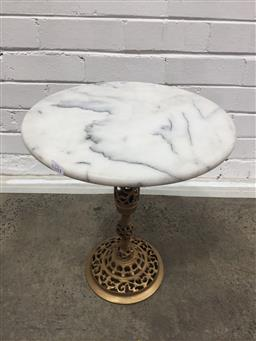 Sale 9137 - Lot 1058 - Pierced brass side table with a marble top (h:45 dia:38cm)