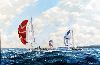 Sale 3847 - Lot 90 - ERIC TANSLEY (20th century, English) - Yachts Racing off the Isle of Wight, c.1960 60 x 90 cm