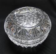 Sale 8298 - Lot 69 - A large fancy hand cut lead crystal bon - bonniere, the lid decorated with grapes and a plum. D: 16cm
