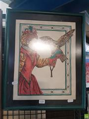 Sale 8563T - Lot 2181 - Girl with Bird Watercolour Framed Image
