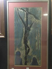 Sale 8663 - Lot 2037 - Pat Rowley - The Crucifixion of Christ, screenprint, ed. AP, 78 x 45cm (frame size), signed lower left -