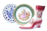 Sale 8719 - Lot 82 - Ceramic Shoe Together with A Limoges Cabinet Plate And Another