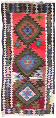 Sale 8725C - Lot 10 - A Vintage Persian Gypsy Kilim Carpet, Hand-knotted Wool & Cotton, 270x125cm, RRP $2,200