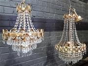 Sale 8774 - Lot 1090 - 1960s Gilt Chandelier & Another, one of basket form the other drop shaped, both with gilt Os to the perimeter (some crystals in of...