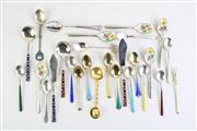 Sale 8835 - Lot 432 - Sterling Silver Enamelled Spoons With Others