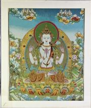 Sale 8894 - Lot 45 - Framed Thangka (88cm x 74cm)