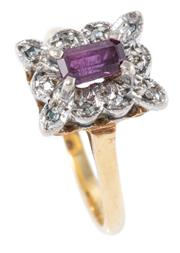 Sale 8928 - Lot 303 - AN 18CT GOLD GEMSET RING; centring an approx. 0.60ct step cut ruby surrounded by 10 single cut diamonds, size M, wt. 3.4g.