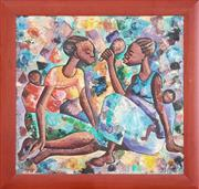 Sale 8973 - Lot 2042 - Digna, Two African Women Carrying Babies  oil on canvas board, 67 x 71 cm (frame: 81 x 85 x 3 cm), signed lower right