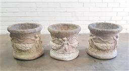 Sale 9102 - Lot 1298 - Set of 3 concrete planters with figures (h:41 x d:44cm)