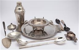 Sale 9099 - Lot 207 - A collection of plated wares including perfection cocktail shaker, cake server, salad wares, strainers etc.