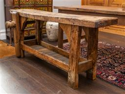 Sale 9160H - Lot 43 - An antique French beechwood workbench/ console table with lower shelf and vice, Height 74cm x Width 170cm x Depth including vice wou...