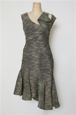 Sale 9095F - Lot 100 - A Bianca Spender asymmetrical black and white stripped sleeveless dress, size 10.